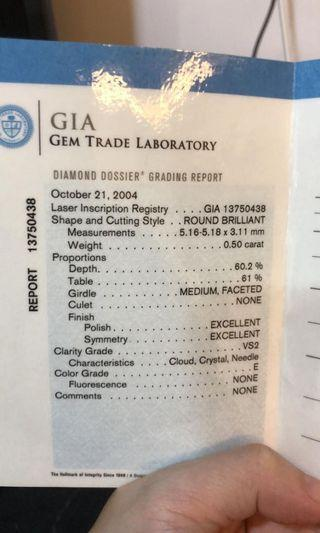 GIA 0.5ct high specs E/VS2 Excellent