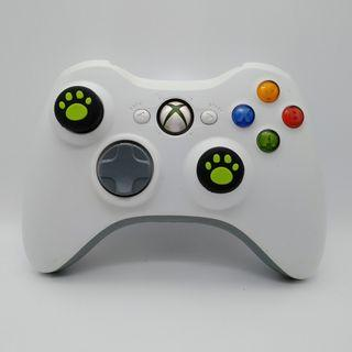 Xbox 360 Wireless White Controller with Two New Green Cat Paw Silicone Thumbstick  a new Battery Pack