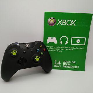Xbox One Wireless Black Controller with Two New Green Cat Paw Silicone Thumbstick and a FREE Xbox Live Gold 14-days membership subscription code
