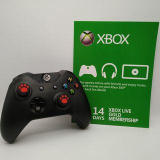Xbox One Wireless Black Controller with Two New Red Cat Paw Silicone Thumbstick and a FREE Xbox Live Gold 14-days membership subscription code