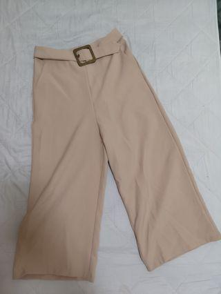 Beige belted Culottes