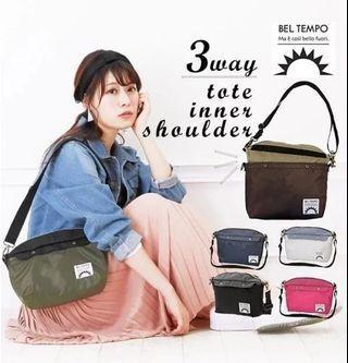 熱賣現貨🔥(日本直送)BEL TEMPO🔥 2合1變身斜孭袋  旅行必用│斜孭袋同時分身側