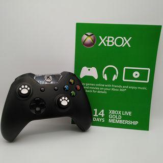 Xbox One Wireless Black Controller with Two New White Cat Paw Silicone Thumbstick and a FREE Xbox Live Gold 14-days membership subscription code