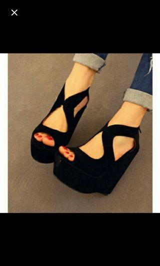 (NO INSTOCKS!)Preorder korean Ankle Suede platform high wedges * waiting time 15 days after payment is made *pm if int