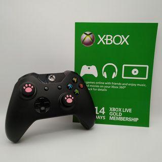 Xbox One Wireless Black Controller with Two New Pink Cat Paw Silicone Thumbstick and a FREE Xbox Live Gold 14-days membership subscription code