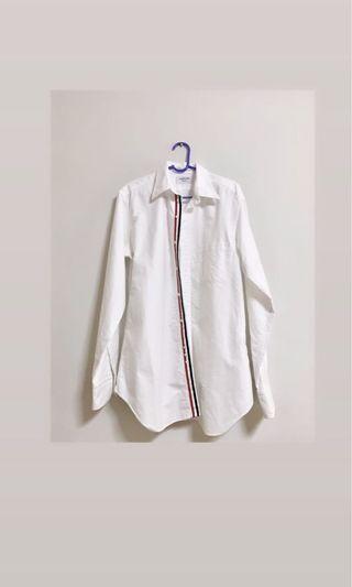Thom Browne Long-Sleeve Cotton Oxford Shirt, White