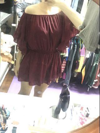 🚚 一字領連身洋裝 褲裙