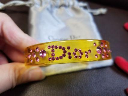 Dior yellow bangle 黃色透明粉紅閃石膠手鈪