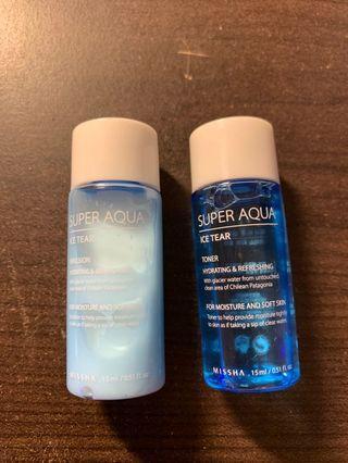 Missha super aqua toner and emulsion