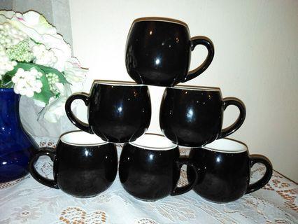 🆕6 x Black Ceramic cups