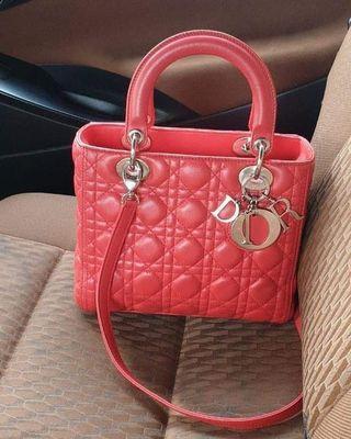 GOOD CONDITION  Lady Dior Med Geranium Red 2012  bag db strap tag