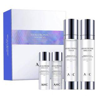 AHC Hyaluronic Skincare 4 pieces Set (Toner 100ml + 30ml, Emulsion 100ml + 30ml)