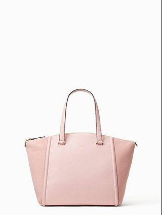 Tas Wanita Kate Spade Lewis Street Drive Alanie Rose Jade Pink Leather & Suede Shoulder Tote Bag
