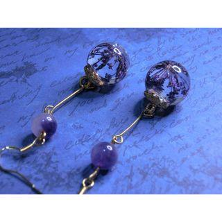 薰衣草押花耳環 (紫)