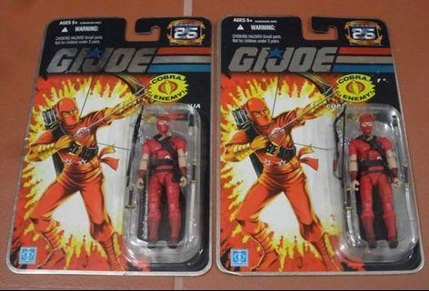 GI Joe 25th Anniversary Cobra Red Ninja x 2 Pieces