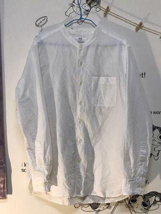 🚚 Uniqlo 無領白襯衫(微透明)