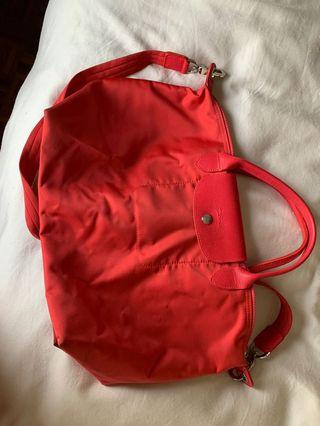 Authentic Longchamp Neo Le Pliage Small in Red