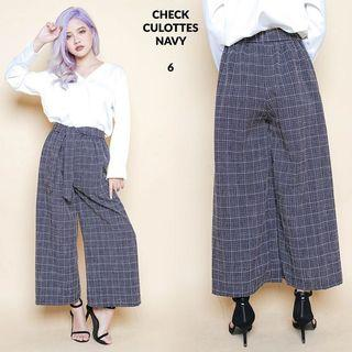 🚚 Checkered Culottes Pants Navy Blue