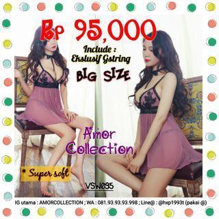 Lingerie seksi jumbo Big Size ungu -VSW095- By AMORCOLLECTION