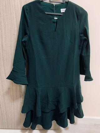 BN Playdress ruffles dress (dark green)