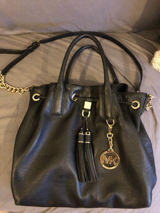 Micheal Kors Bucket Bag | Black | 2X Tassels | Pebbled Leather