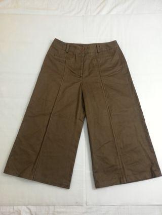Ngu古著 咖啡色純棉寬褲