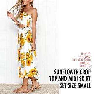 Sunflower Crop Tube Top Midi Skirt Set White Yellow S Small