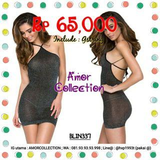 Lingerie seksi dress clubbing hitam -BLIN337- By AMORCOLLECTION
