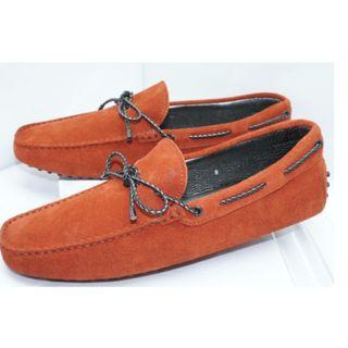 Tod's Mens Orange Shoes Drivers Loafers Moccasin