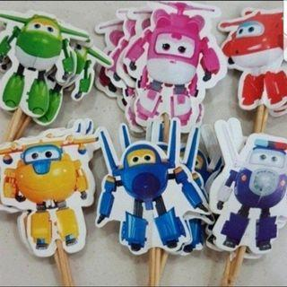 24pcs Super Wings Cake/Cupcake/Muffin Toppers for Party Decoration
