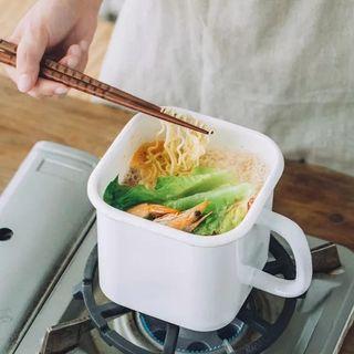 1.3L Enamel instant noodle cup with lid