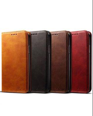 IPhone X/XS Folded Hard Case Calf Leather 3 Cards Slots