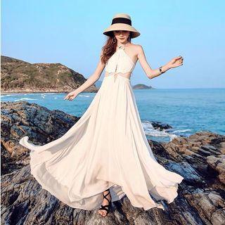 Candy w❤️實拍❤️ 波希米亞性感削肩白色長洋裝