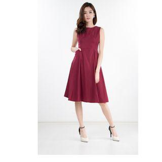 NINTH COLLECTIVE KANE MIDI DRESS IN WINE RED