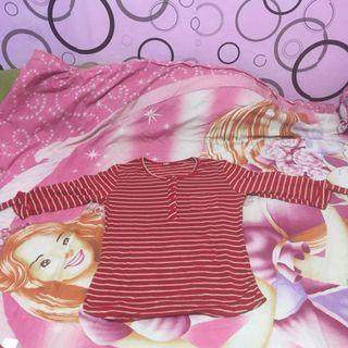 Stripe top merah lucu wanita