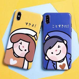 日本日文卡通情侶全包亮面手機殼軟殼 Apple iPhone case