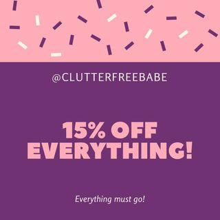 15% OFF EVERYTHING ON THE SITE