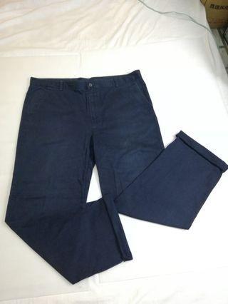 Ngu古著 深藍色大尺碼休閒褲