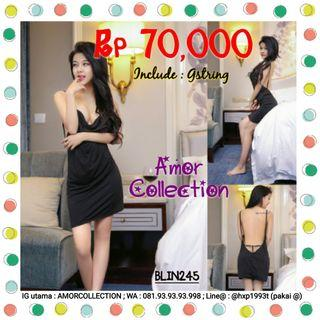 Lingerie seksi clubbing dress hitam -BLIN245- By AMORCOLLECTION