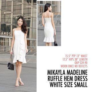 Mikayla Madeline Ruffle Hem Peplum Mermaid Dress White Small S