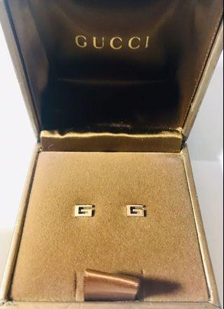 Gucci G 18k白金耳環/正品/付盒