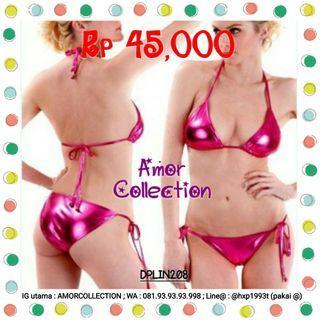 Lingerie seksi import bikini leather pink tua -DPLIN208- By AMORCOLLECTION