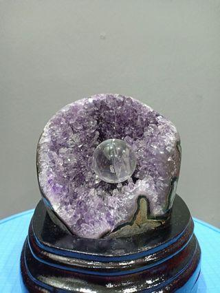 "4""Brazil pocket purple crystal c/w balls"