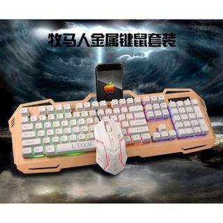 牧羊人 狼技 電競鍵盤+滑鼠金屬套裝 有線發光鍵盤 機械式鍵盤手感