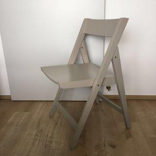 Grey folding chair Wood with grey paint portable