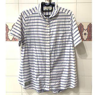 Small Round Collar White Blue Striped Shirt