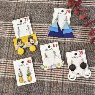 🚚 Korean Style Earrings-Earclips -(Clip On)(Wooden)