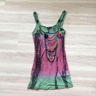 全新❤️XS號正品MORGAN 手工珠飾渲染彈性長版背心