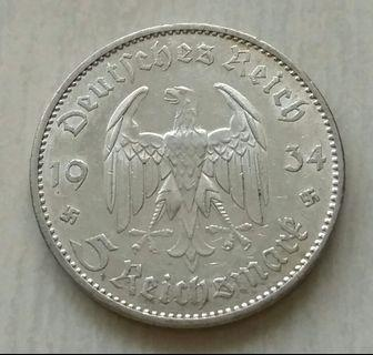 Germany 1934A 5 Reichsmark Silver Coin With Good Details