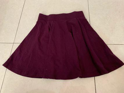 H&M Maroon Plated Skirt